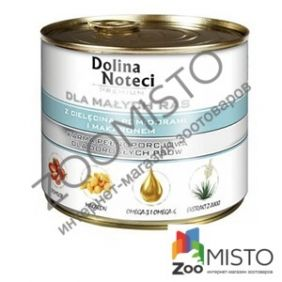 Dolina Noteci Premium Dog для собак мелких пород с телятиной, помидорами и макаронами.